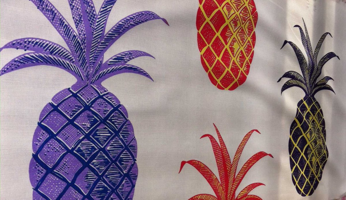 Pineapple On Coral Bernard Thorp Fabric And Wallpaper