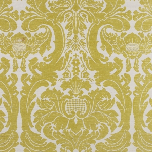 French Damask on Sisal Wallpaper - Lime Green