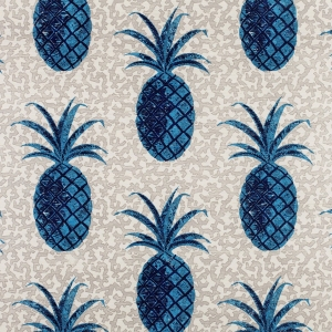 Pineapple on Coral - Blue and Grey