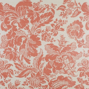Preston Damask on Sisal Wallpaper - Salmon Pink