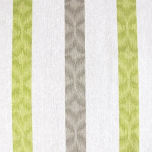 Aquarius Stripe on Wiltshire Linen- Ecru-Lime Green, Grey