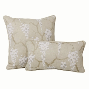 Sakura - Hopsack Herringbone Linen In White and Grey - Large and Small Cushions