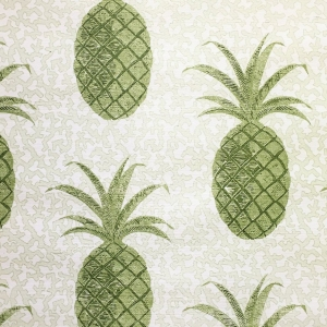 Pineapples on Coral in Green Hand Screen Printed on Sisal Wallpaper