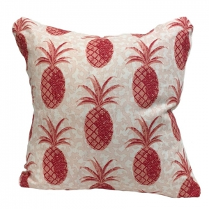 Pineapple on Coral Linen Cushion Large - Red
