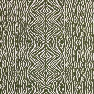 Grevy's Zebra Border on Chelsea Linen - Kale 336
