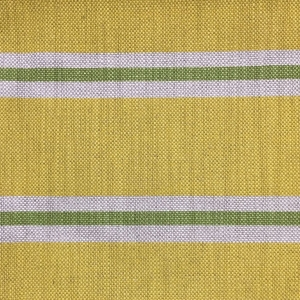Imperial Stripe on Natural Hopsack Linen - Greenery & Primrose Yellow