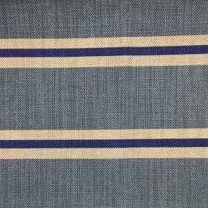 Imperial Stripe on Natural Hopsack Linen - Niagara Blue & Lapis Blue