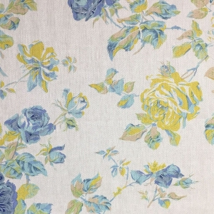 Lady Rose on Oakley Herringbone Linen - Primrose Yellow