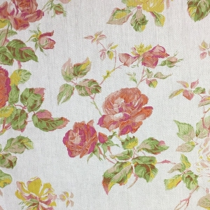 Lady Rose on Oakley Herringbone Linen - Flame