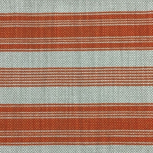 Newbury Stripe on Natural Hopsack Linen - Flame