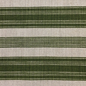 Newbury Stripe on Natural Hopsack Linen - Kale