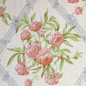 Peony on Oakley Herringbone Linen - Flame