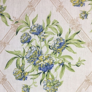 Peony on Oakley Herringbone Linen - Greenery