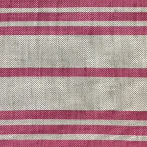 Regent Stripe on Natural Hopsack Linen - Pink Yarrow