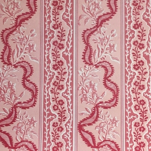 Cambridge Border on Chelsea Linen - Red & Pink