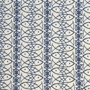 Lucky Fish Outline on Chelsea Linen - Blue