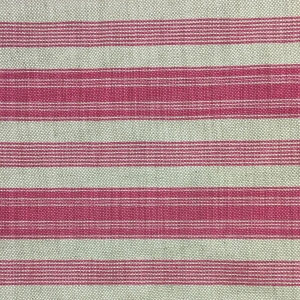 Newbury Stripe on Natural Hopsack Linen - Pink Yarrow (2)