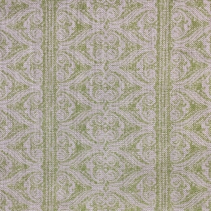 Rustic Alison Border on Natural Hopsack Linen - Greenery