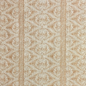 Rustic Alison Border on Natural Hopsack Linen - Hazelnut