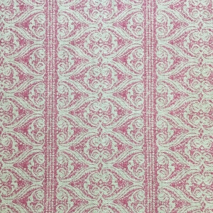 Rustic Alison Border on Natural Hopsack Linen - Pink Yarrow