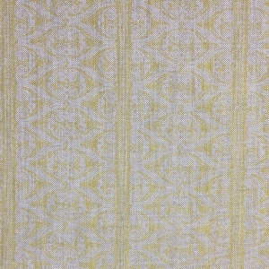 Rustic Alison Border on Natural Hopsack Linen - Primrose Yellow