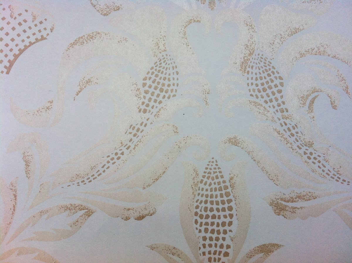 Corn Damask Custom Pearlised Wallpaper