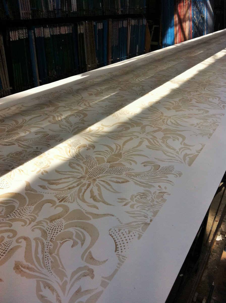 Custom Printing Corn Damask Pearlised Wallpaper